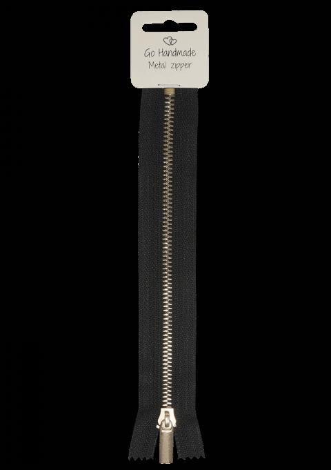 Glidelås - Sort med gull, 25cm