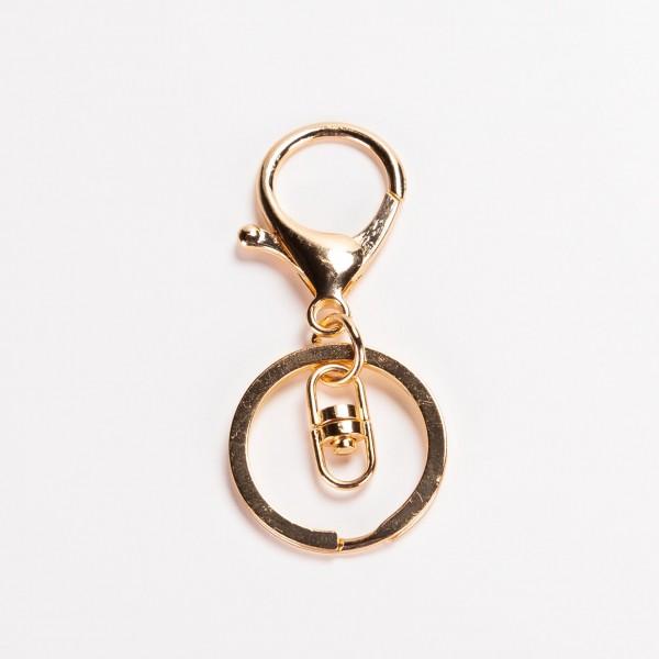 Nøkkelring - Med hake gull 30mm