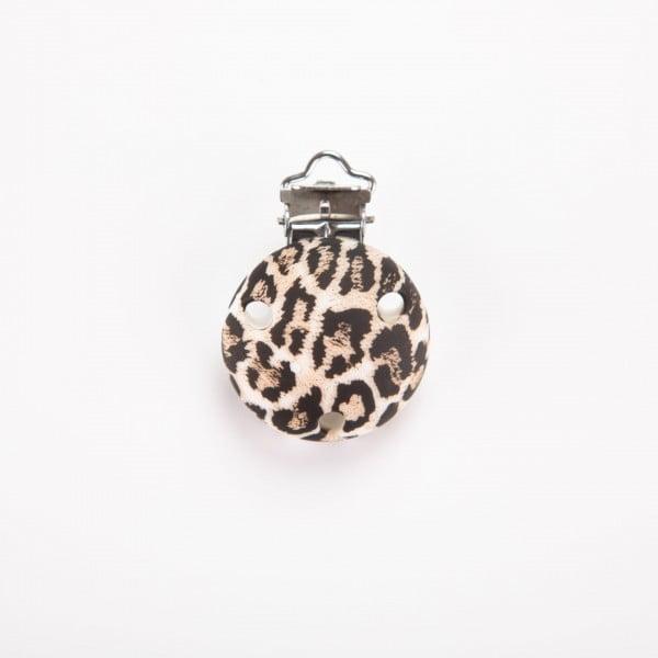 Silikonclips - Rund, Leopard brun