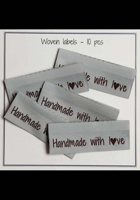 Handmade whit love, med hjerter på baksiden - 10 stk