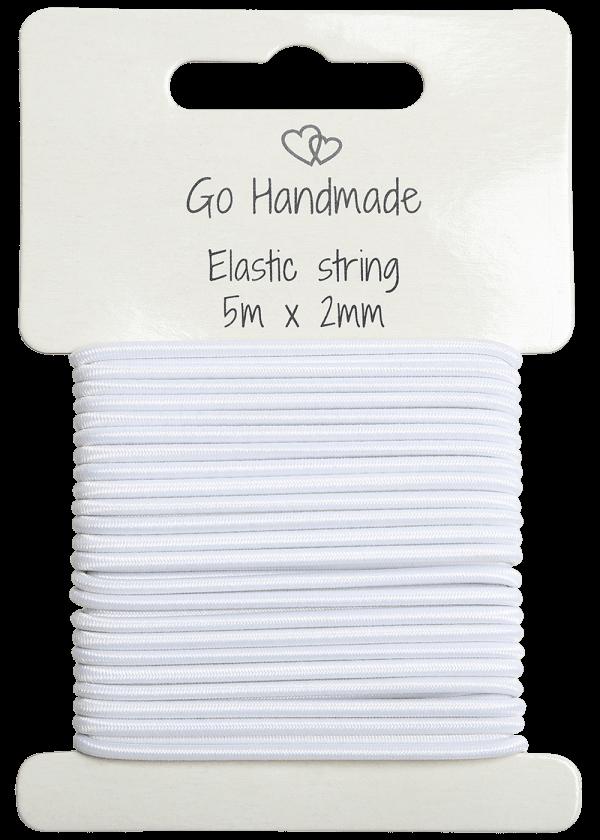 Elastisk tråd - 2mm, Hvit 5meter