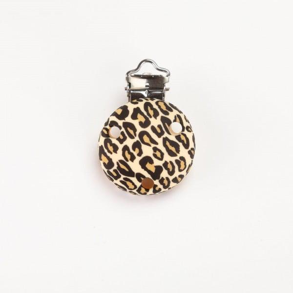 Silikonclips - Rund, Leopard beige