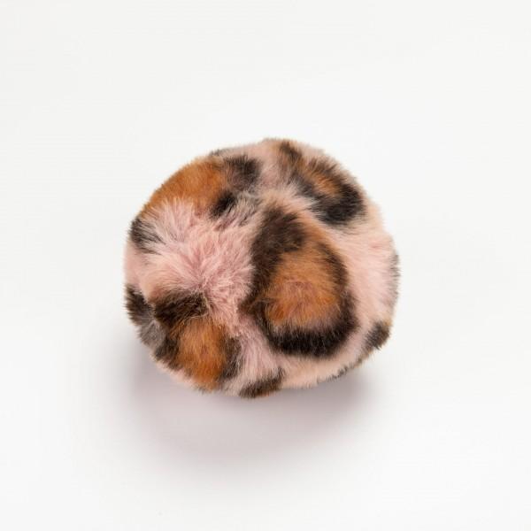 Pompon - 8cm dyreprint rosa/brun