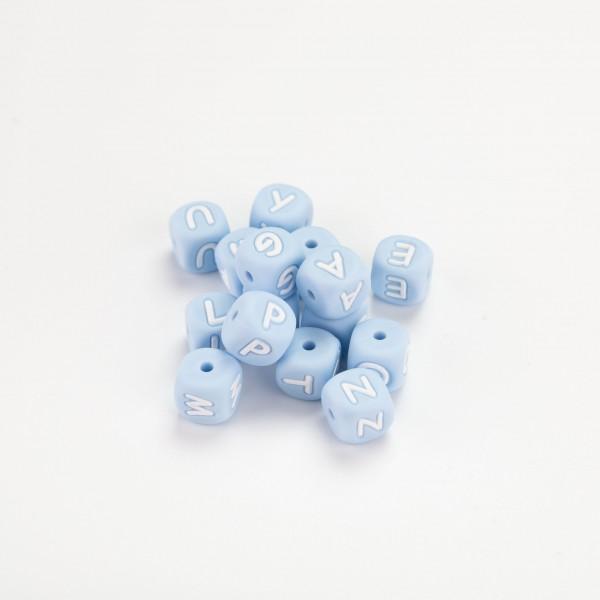 Silikon - Bokstavperle 12mm, Pastell blå