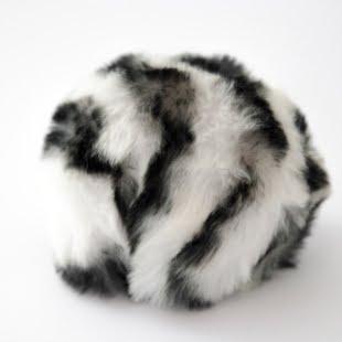 Pompon - 8cm dyreprint hvit/sort