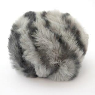 Pompon - 8cm dyreprint grå/sort