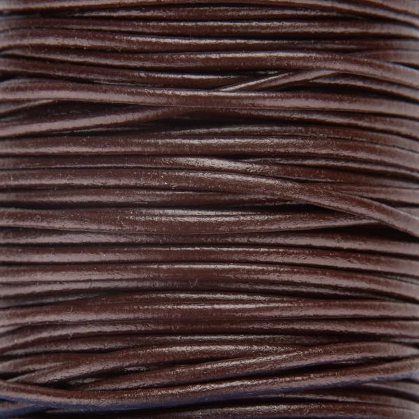 Skinn snor 2mm – 1meter, Mørk brun