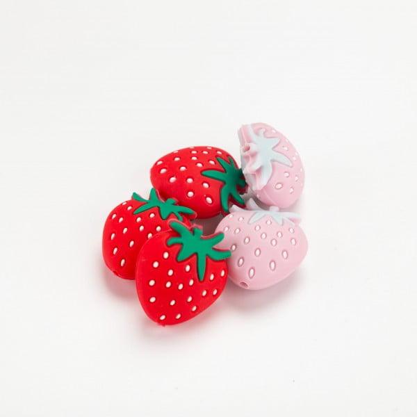 Silikon - Jordbær 25x24mm
